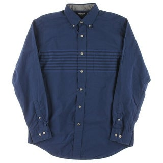 Nautica Mens Cotton Striped Button-Down Shirt - M