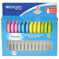 Westcott For Kids Antimicrobial Blunt Scissors with Rack, 5 Inches, Pack of 12