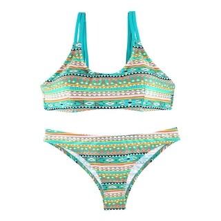 Geometry Padding Bra Two-Piece Swimming Suit Sexy Swimwear Women Bikini Set M