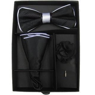 Men's Black & White Solid Bow Tie with matching Hanky and Lapel Flower