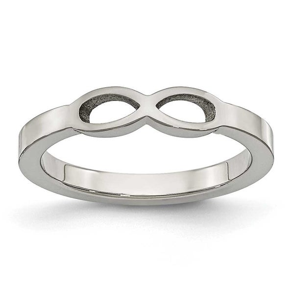 Chisel Stainless Steel Polished Infinity Symbol Ring (4 mm)