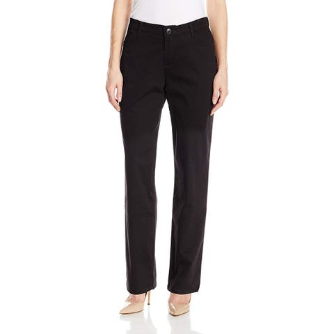 Lee Womens Deep Black Size 10 Stretch Straight Leg Relax Fit Pants