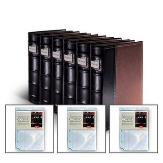 Bellagio-Italia Brown Leather CD/DVD Binder 6 pack with 24 Bonus Insert Sheets