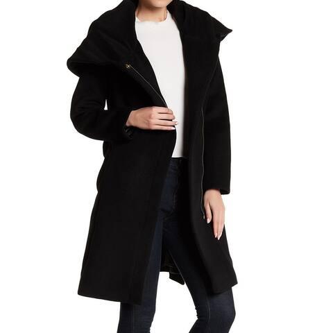 Cole Haan Women's Coat Ultimate Black Size 8 Full Zip Belted Wool
