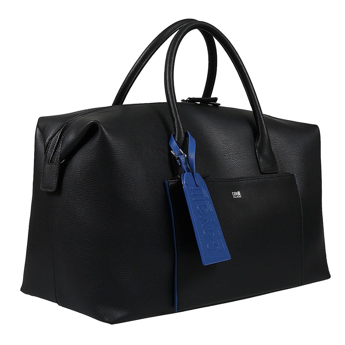 Roberto Cavalli Class Black Man Leather Weekend Bag