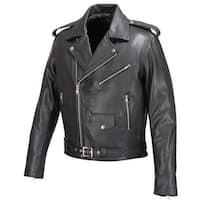 Mens Real Leather Moto Jacket Black FJ8