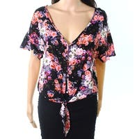 H.I.P. Womens Medium Floral Button-Front Knit Top