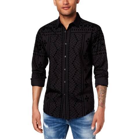 I-N-C Mens Flocked Pattern Button Up Shirt