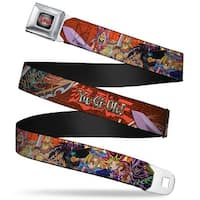Yu Gi Oh! Logo Full Color Gray Fade Red Yu Gi Oh! 7 Character Group Pose Seatbelt Belt
