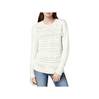 Kensie Womens Pullover Sweater Fringe-Trim Cable Knit