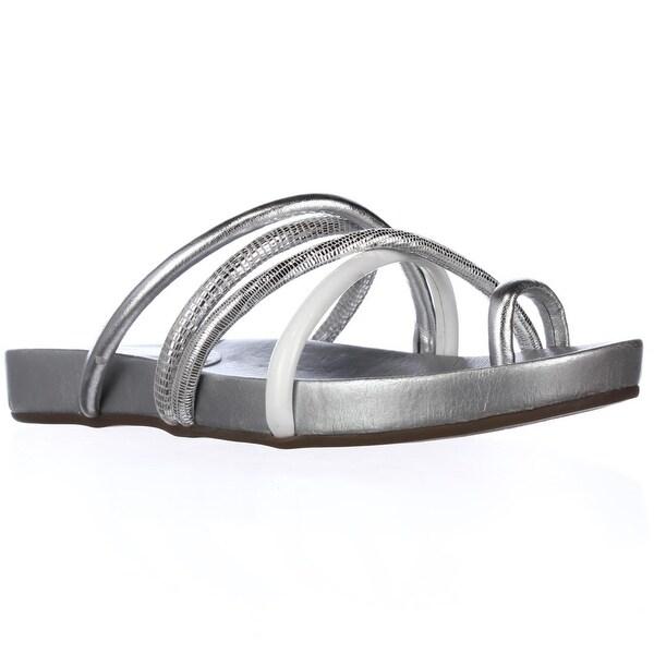 GUESS Jiyana Toe Loop Slide Sandals, Silver Multi - 8 us