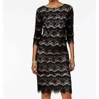 Jessica Howard Black Womens Size 8 Lace Illusion Sheath Dress