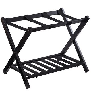 Costway Folding Luggage Rack with Shelf Travel Suitcase Shoe Storage Holder Wood Stand