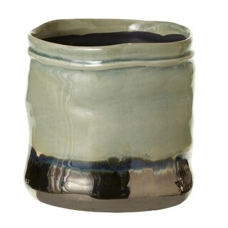 "Set of 2 Green and Metallic Decorative Cylindrical Glaze Base Flower Pot 6"""