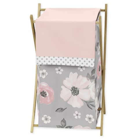 Grey Watercolor Floral Collection Laundry Hamper - Blush Pink Gray and White Shabby Chic Rose Flower Polka Dot Farmhouse