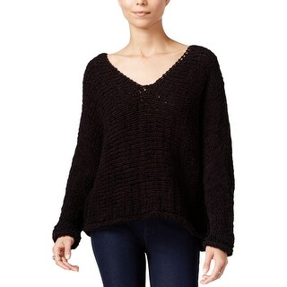 Free People Womens Pullover Sweater Deep V-Neck Open Stitch