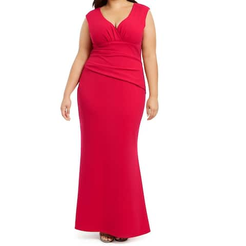 Betsy & Adam Womens Gown Dress Red Size 16W Plus Ruched Pleat-Detail