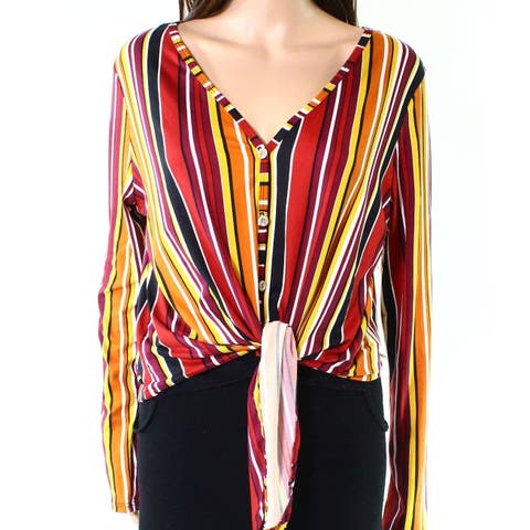 Polly & Esther Womens Large Striped Tie-Front Knit Top