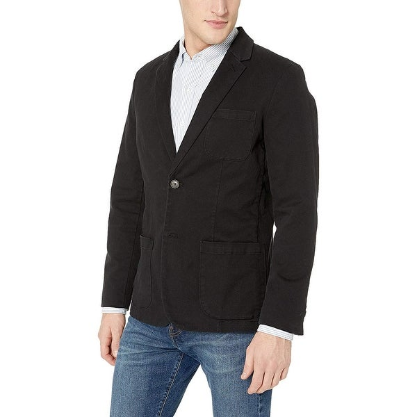Goodthreads Men's Slim-Fit Stretch Twill Blazer, Black, Large. Opens flyout.