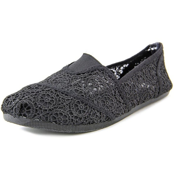 Qupid Pam 47B Women Round Toe Canvas Black Flats