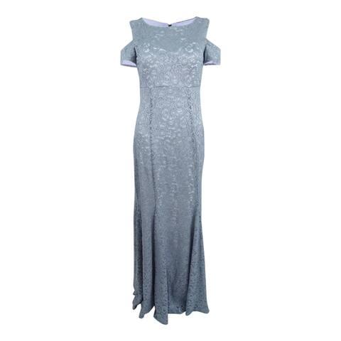 R&M Richards Women's Lace Cold-Shoulder Gown (6, Platinum/White)