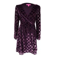Betsey Johnson Women's Velvet Dot-Print Wrap Dress