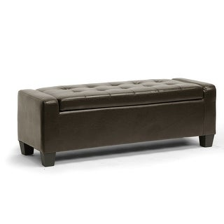 Manchester Contemporary Tufted Dark Brown Bonded Leather Ottoman