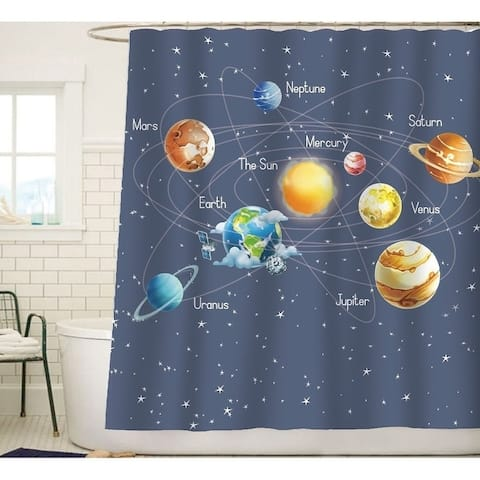 Solar System Planets Stars and Galaxy Space Fabric Curtain - Multi-Color