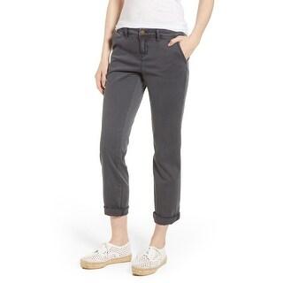 Caslon Gray Womens Size 14 Stretch Woven Boyfriend Chino Pants