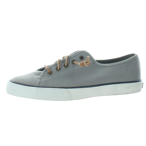 Sperry Womens Pier View Boat Shoes Canvas Slip On - Grey