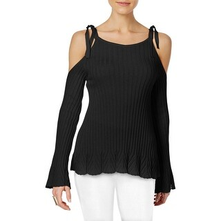 ECI Womens Pullover Sweater Cold Shoulder Crew Neck