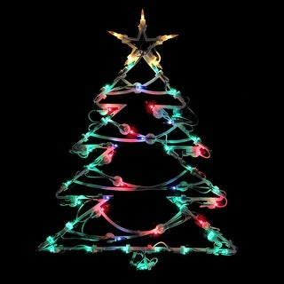 """18"""" Lighted Tree Christmas Window Silhouette Decoration - N/A"""