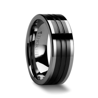 EDINBURGH Flat Grooved Tungsten Ring with Ceramic Inlay