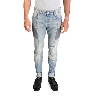 Pierre Balmain Men's Skinny Fit Biker Denim Jeans Pants Light Blue