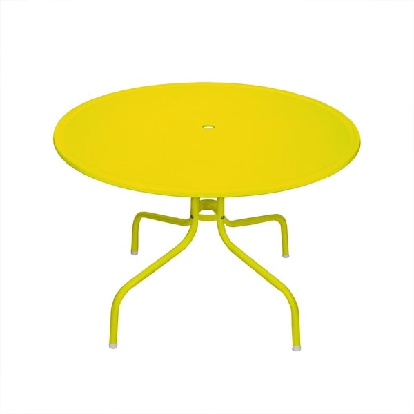 "39.25"" Yellow Retro Metal Tulip Outdoor Dining Table"
