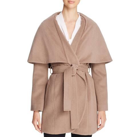 T Tahari Marla Womens Oversized Collar Wool Blend Wrap Coat