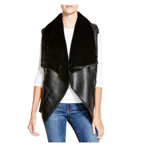 Blank NYC Womens Casual Vest Faux Leather Faux Fur Lined