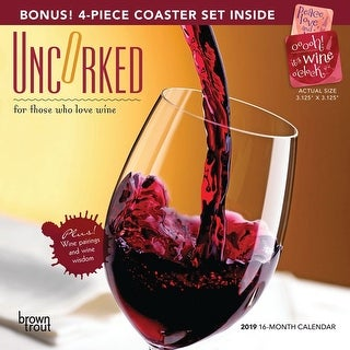 2019 Uncorked Coaster Set Wall Calendar, Wine, Beer & Spirits by BrownTrout