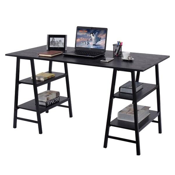Shop Costway 55 Trestle Computer Desk Pc Laptop Writing Table