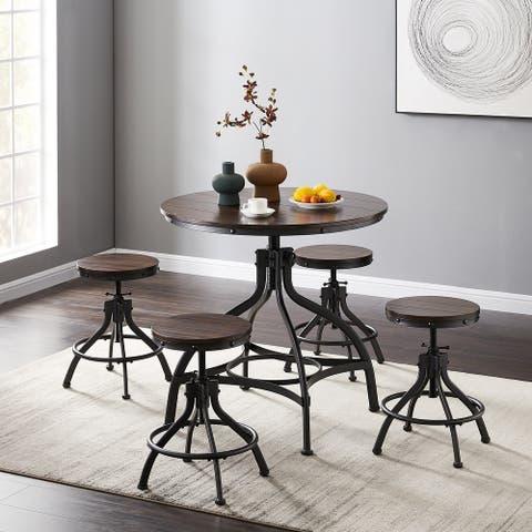 Furniture R Modern Industrial Swivel Wood Bar Table Set (Set of 5)
