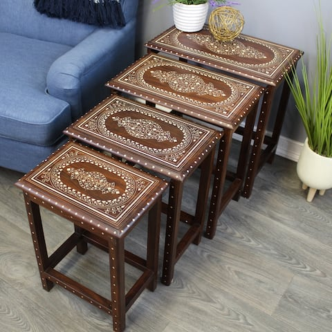 Natural Geo Decorative Set of 4 Nesting Tables - White Oval