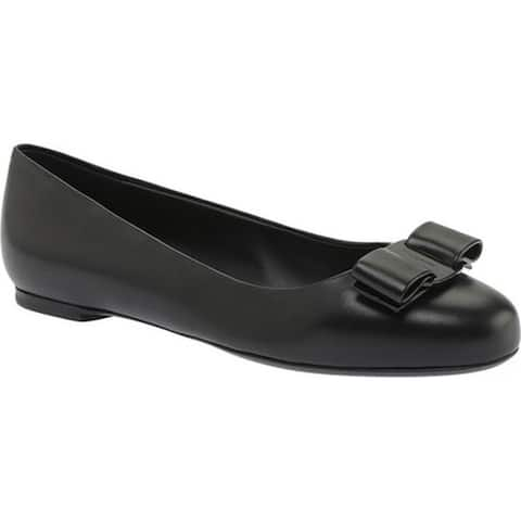 Salvatore Ferragamo Women's Varina Nappa Leather Flat Nero Nappa Leather