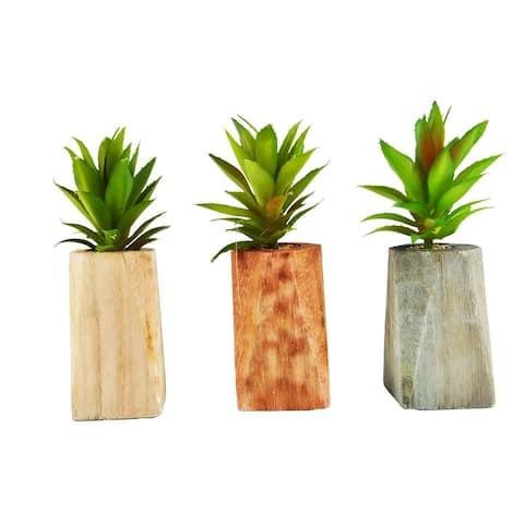 MODA MDW-106.5-815S wood pot with plastic plant - L:3.74*3.74*H5.91 S:5.12*4.33*H4.72