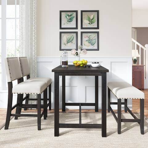 4 Piece Wooden Counter Height Dining Table Set with Upholstered Bench