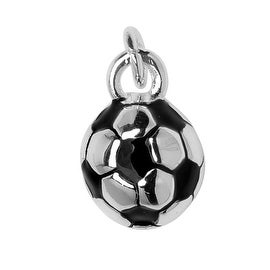 Silver Plated and Enameled Charm, Soccer Ball 11.5x7.7x7.7mm, 1 Piece, Black