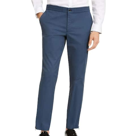 INC Mens Tech Pants Slate Blue Large L Pleather Trim Ankle Zip Tapered