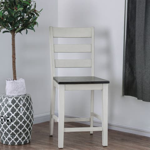 Furniture of America Mage Rustic White Counter Height Chairs (Set of 2)