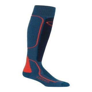 Icebreaker Men's Ski+ Mid Over the Calf Prussian Blue/Midnight Navy/Chili Red