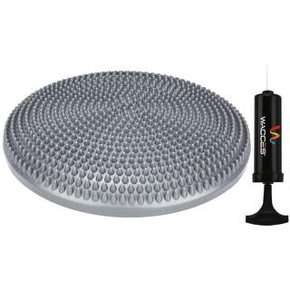 "Wacces 13"" Athletic Inflatable Massage Balance Stability Fitness Cushion Disc to Improve Balance & Flexibility, Grey"