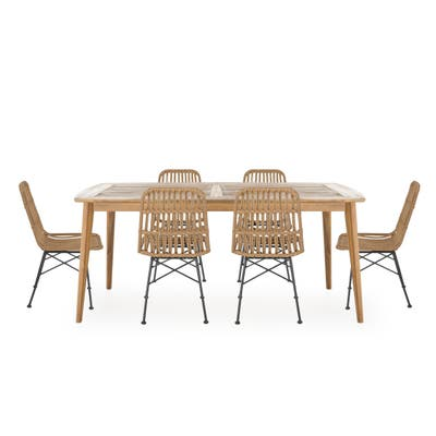 Sawtelle Outdoor 6-Seater Wicker Dining Set by Christopher Knight Home